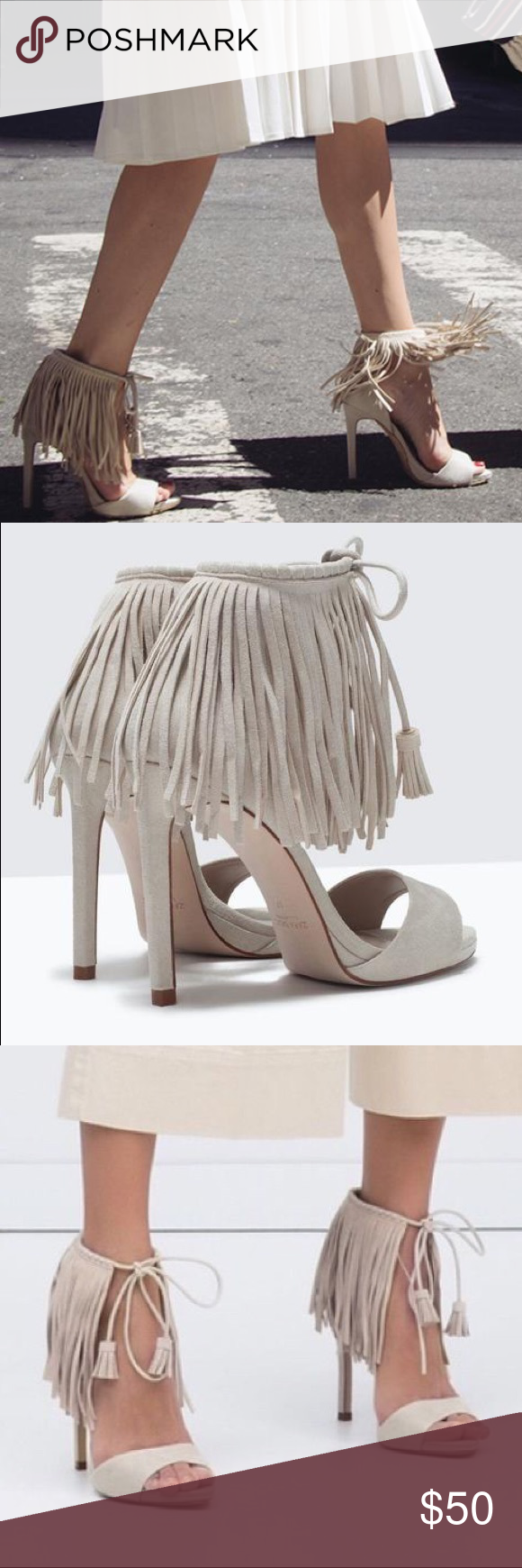 85e556c7cbb Zara Cream Fringe Tassel Heels Sandals Conditions as seen on photos Zara  Shoes Heels