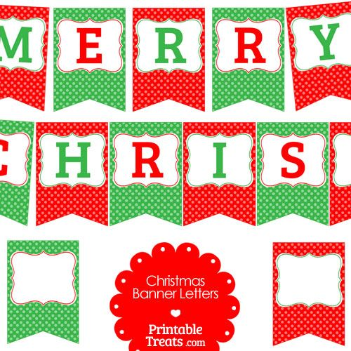 Free Merry Christmas Polka Dot Banner Letters from PrintableTreats ...