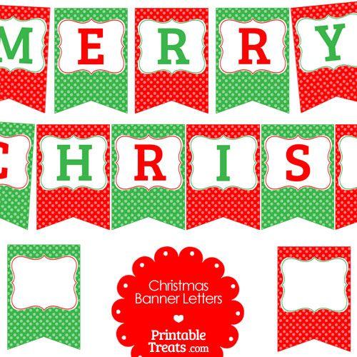 Free Merry Christmas Polka Dot Banner Letters From Printabletreats Com Printabletreats