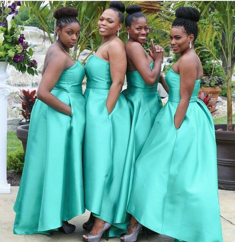 b2fcc618a171e Lovely Green Taffeta Bridesmaid Gown Navy Blue/Peach/Ivory/Champagne ...