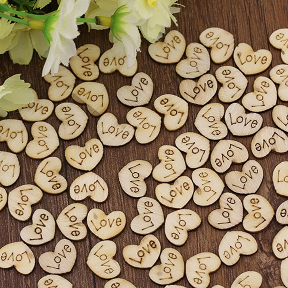 Photo of 100Pcs Rustic Wooden Love Heart Wedding Table Scatters Decor Crafts Buttons – as the picture k