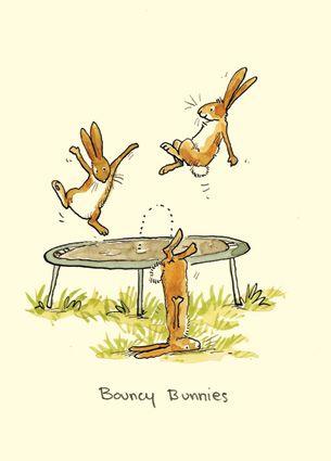 3 konijnen die zijn aan het springen op de trampoline waarvan 1 konijn eraf valt.