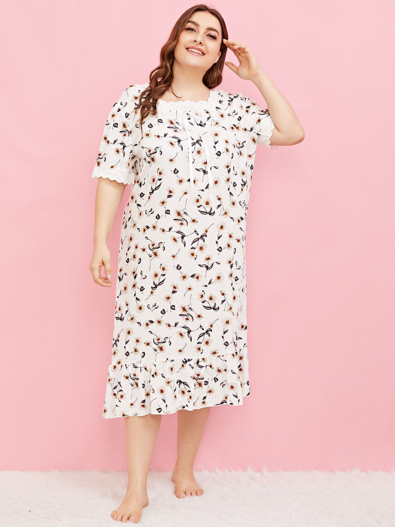 04004931700 Plus Calico Print Crochet Panel Night Dress Crochet Print Calico ...