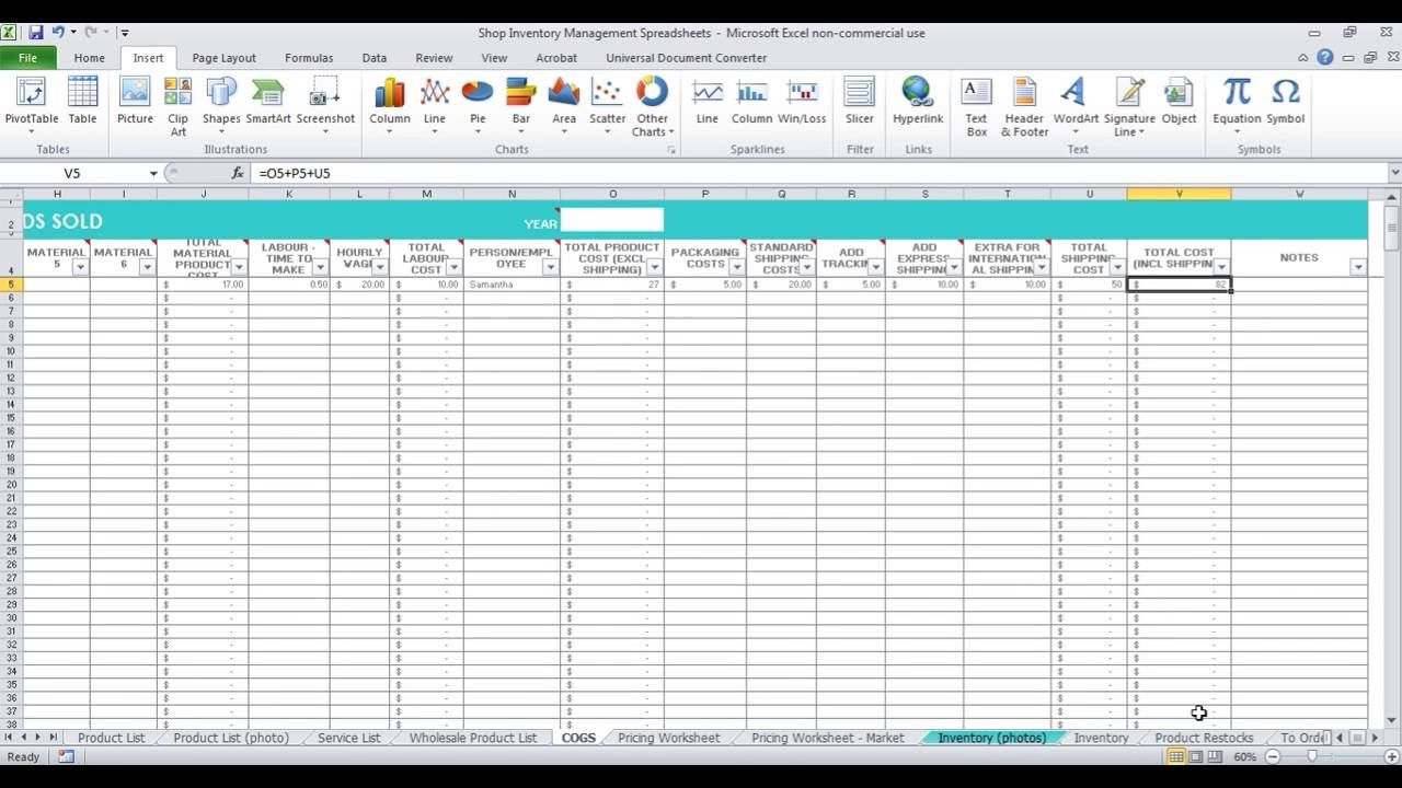 how to keep track of inventory spreadsheet for etsy sellers and