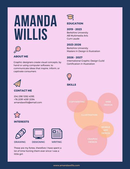 pink colorful infographic resume