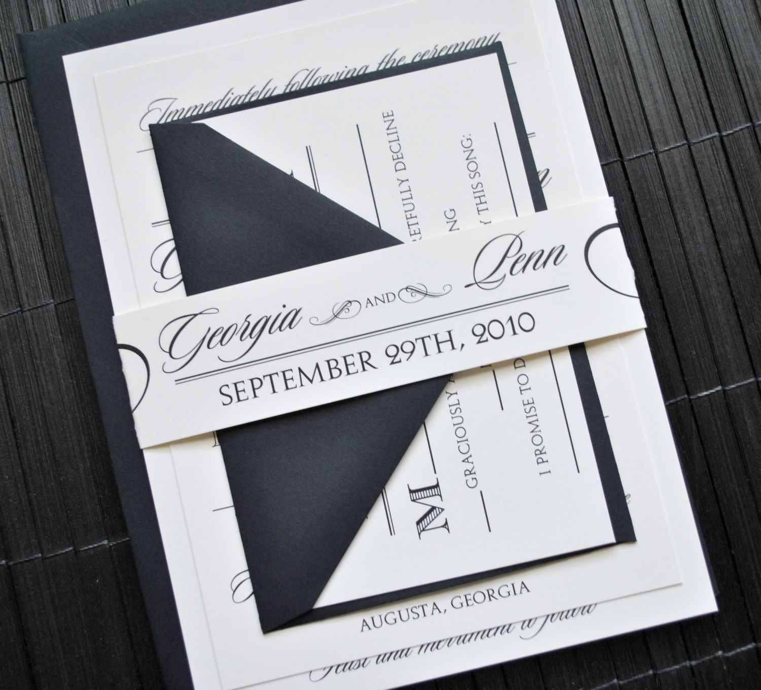 Hollywood Wedding Invitation Suite with Belly Band Ivory and Black