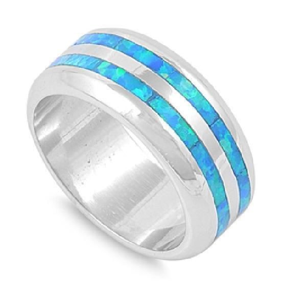 Mens Womens 9mm Blue Fire Opal Inlay Wedding Band Ring Sterling