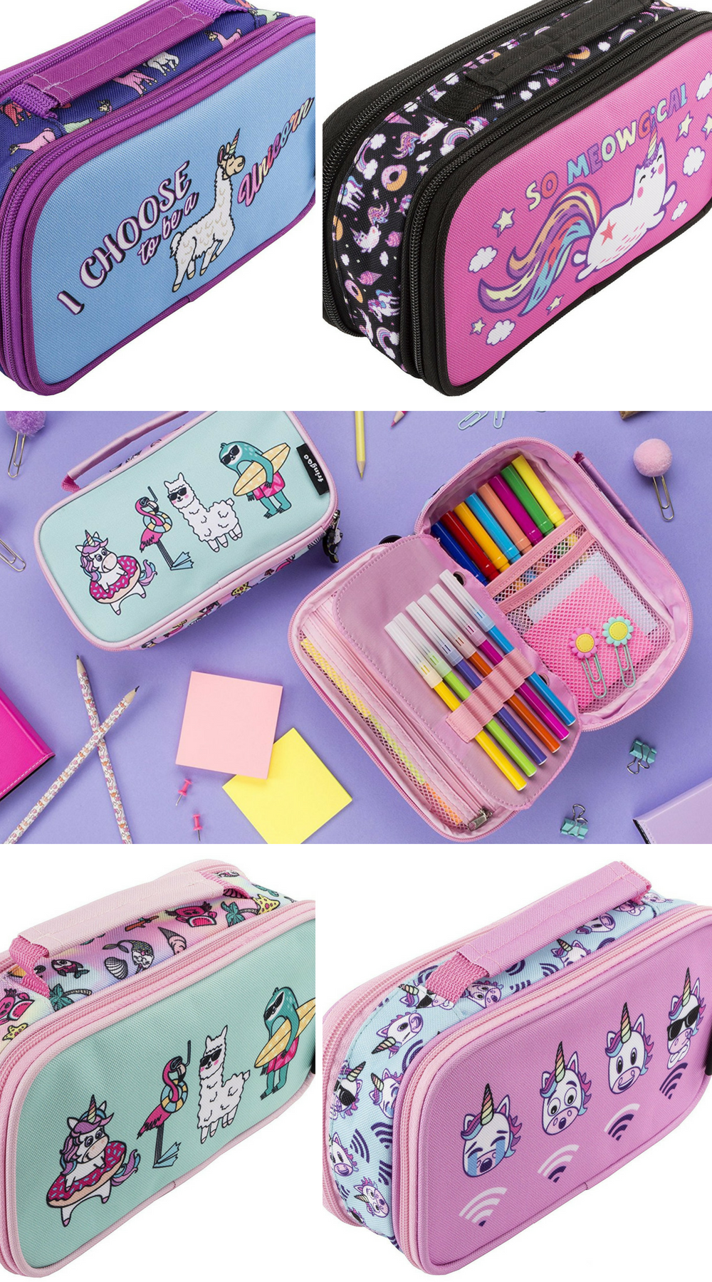 89be18ffb8cc FRINGOO® Girls Boys Pencil Case 2 Compartments School Stationery Organiser  with Handle (Unicorn WiFi - 2 Compartments)