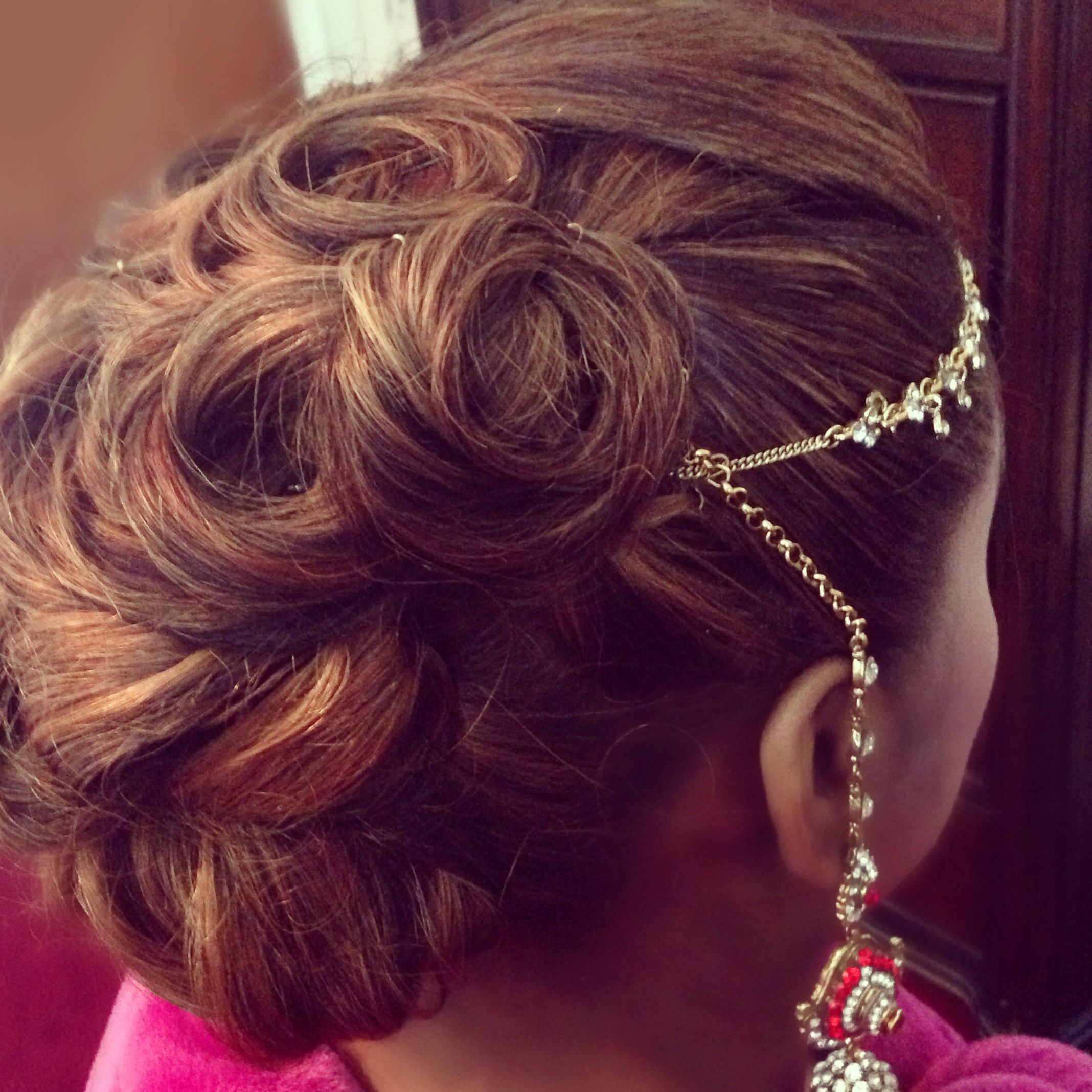 indian bride hairstyle dupatta Pin curl Updo great to hold the