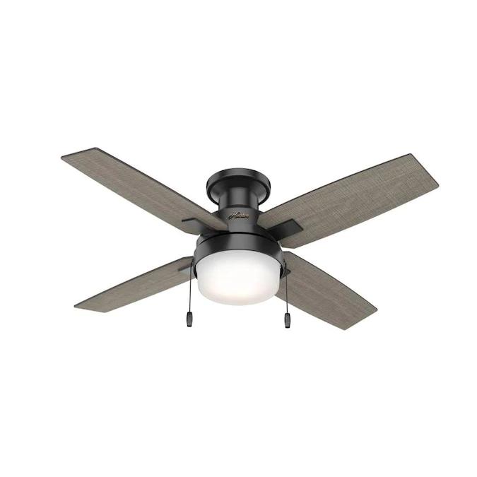 Hunter Port Haven 44 In Matte Black Led Ceiling Fan 4 Blade Lowes Com In 2021 Ceiling Fan Ceiling Fan With Light Flush Mount Ceiling Fan 44 inch outdoor ceiling fan