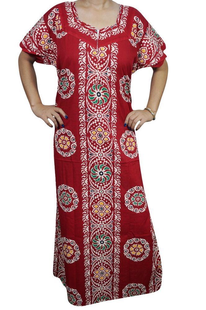 Indiatrendzs Women Cotton Nighty Printed Red Sleepwear Night Gown ...