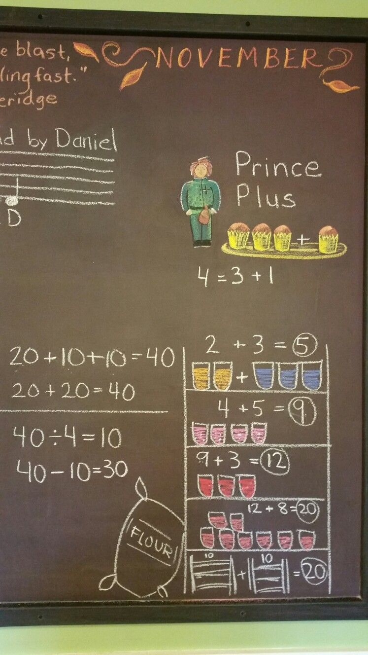 Prince Plus and the Forty Jars of Jam (a story I made up, that we worked out on the board as we went). Prince Divide came along after, and then Princess Minus.