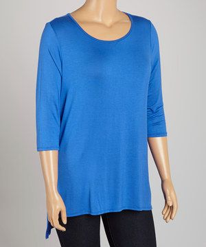 Look what I found on #zulily! Blue Side-Slit Tunic - Plus by Clothing Showroom #zulilyfinds