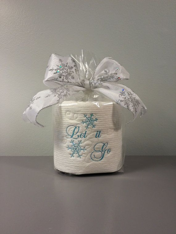 Embroidered Toilet Paper Let It Go Gag Gift White Elephant Dirty Santa Office Bathroom Decor