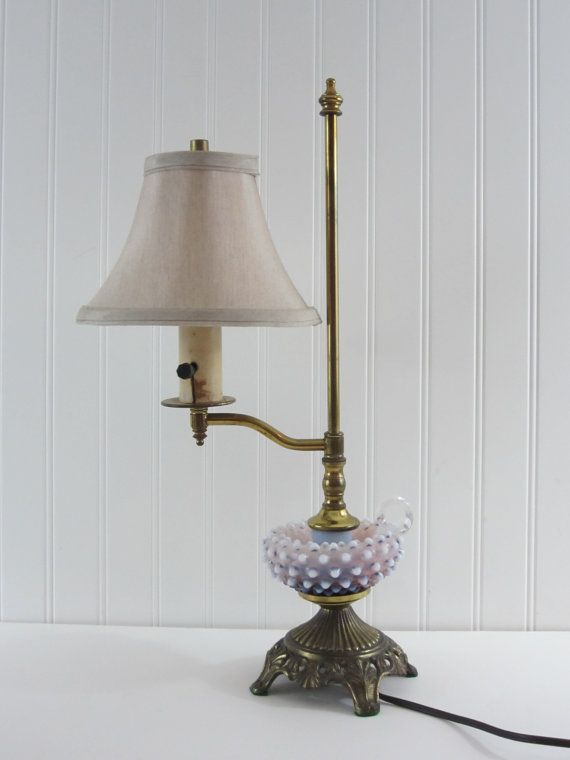 Vintage Fenton Purple Hobnail Desk Or Table Lamp Opalescent With Brass Base And Finger Hole Three Way Socket Shade Not Included Vintage Lamps Fenton Lamp