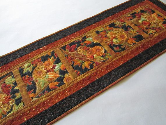 Fall Table Runner Handmade Quilted Table by PatchworkMountain