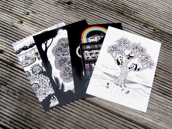 Postcard Set: Hypnowls, Icecreamator, Pandas $5