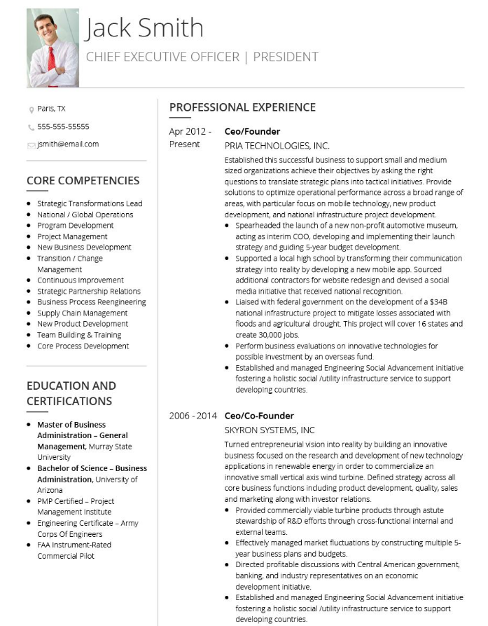 The 10 Best Executive Cv Examples And Templates Cv Examples Resume Examples Cv Template