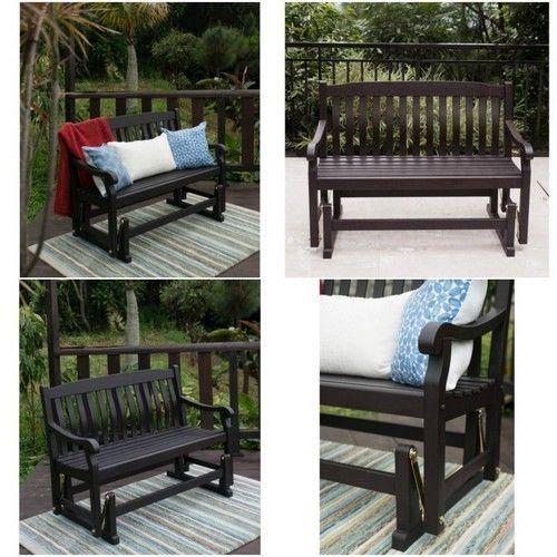 outdoor porch glider patio bench garden furniture swing loveseat wooden seat outdoorporchglider - Garden Furniture Gliders