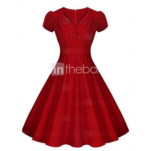 De las mujeres Corte Swing Vestido Vintage Un Color Hasta la Rodilla Escote en Pico Algodón - USD $ 19.99