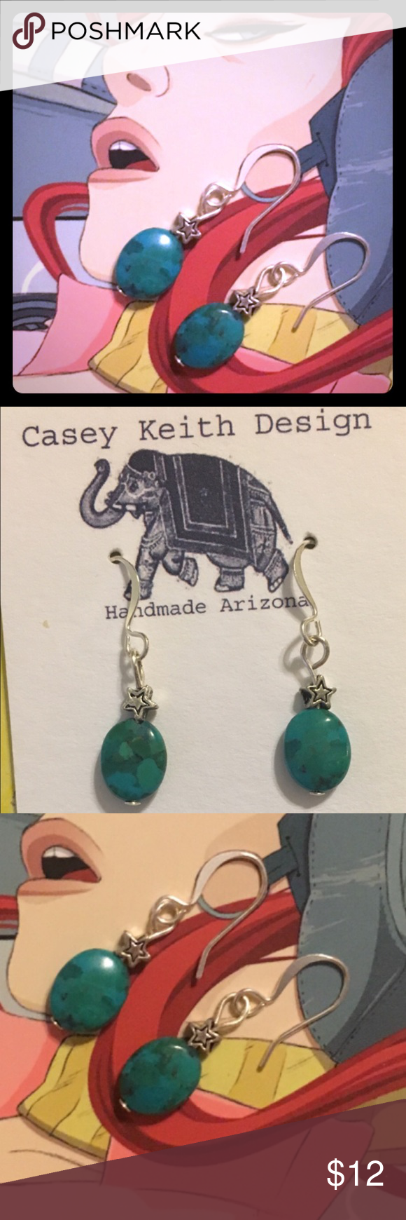 Star Blend Earrings Mosaic Turquoise capped with silver plated stars on silver plated earwires. A dainty and demure Earring that  you will find yourself reaching for again and again .  Purchase includes Artists signature gift packaging . Casey Keith Design Jewelry Earrings