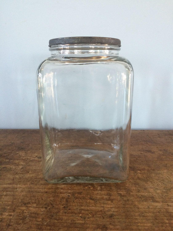 Vintage Hazel Atlas Square Countertop Jar with Tin Lid, Kitchen ...