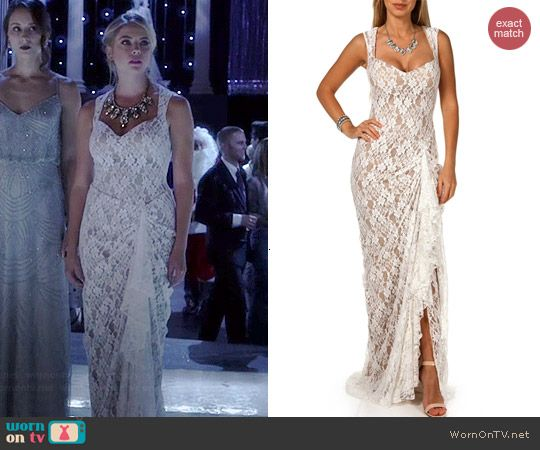 5b84130404 Hanna s white lace Christmas ball dress on Pretty Little Liars. Outfit  Details  http