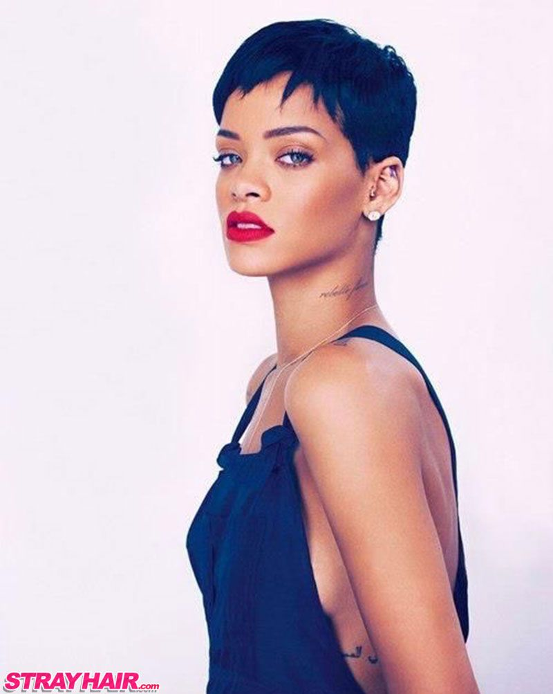 Uncategorized short gray african american hairstyles 4 tight curls short hairstyle 2013 - Rihanna Short Hair Uneven Sexy Pixy Cut