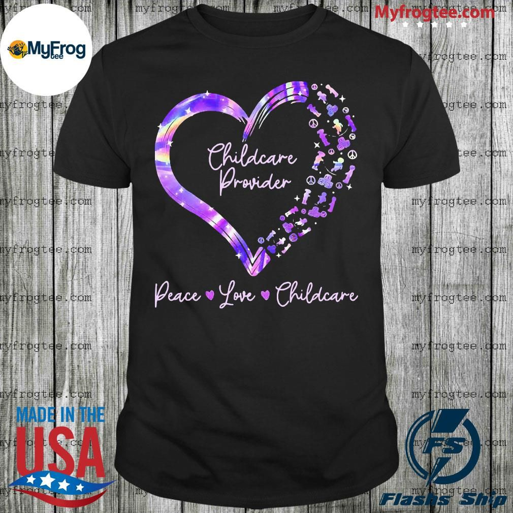 Photo of Childcare provider peace love childcare heart shirt