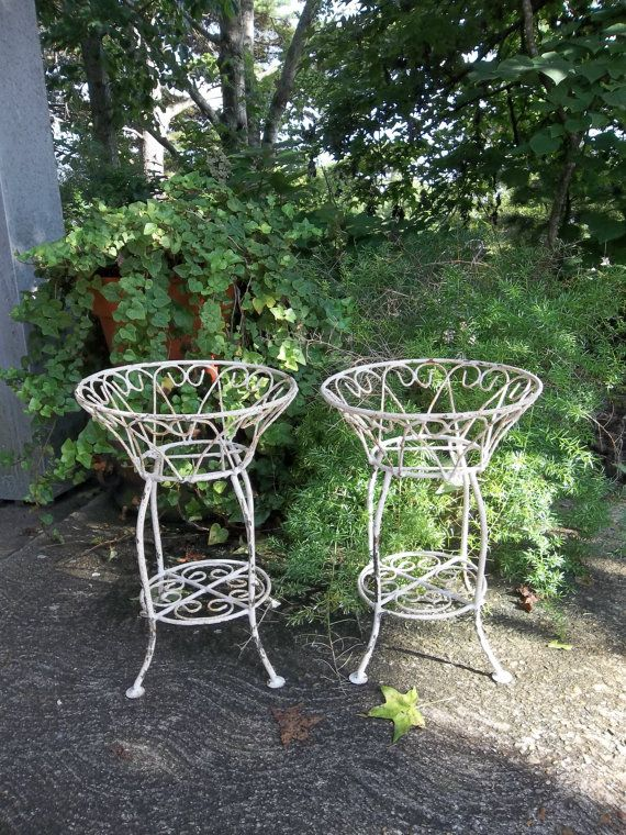 Vintage Garden Decor Wrought Iron Plant Stands Wedding Decorations French County Farmhouse Shabby Chic Set
