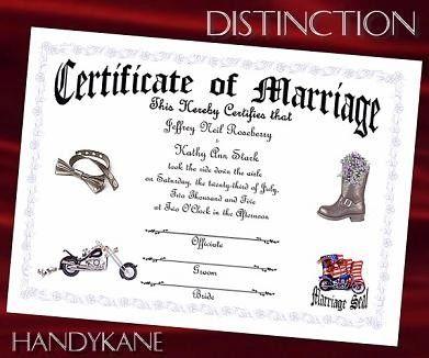 Biker Motorcycle Wedding Favors Marriage Certificate  Favors
