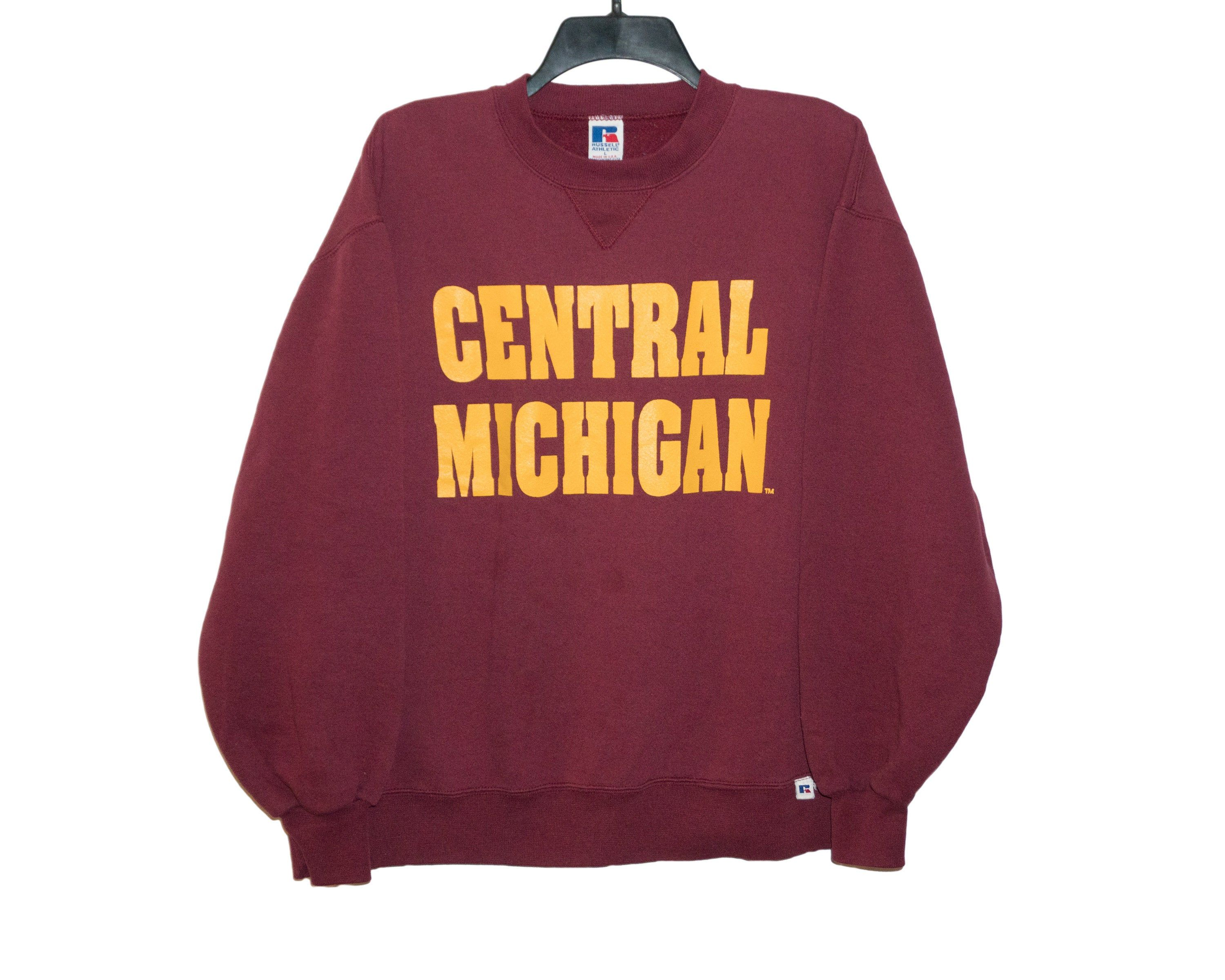 Vintage Central Michigan University Cmu Chippewas 80 S Russell Athletic Maroon And Gold Crewn Crew Neck Sweatshirt Central Michigan University Russell Athletic [ 2400 x 3000 Pixel ]