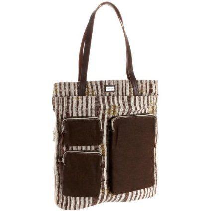 Saltbox Women's Darn-Knit PPL0068 Multi Pocket Canvas Tote Bag