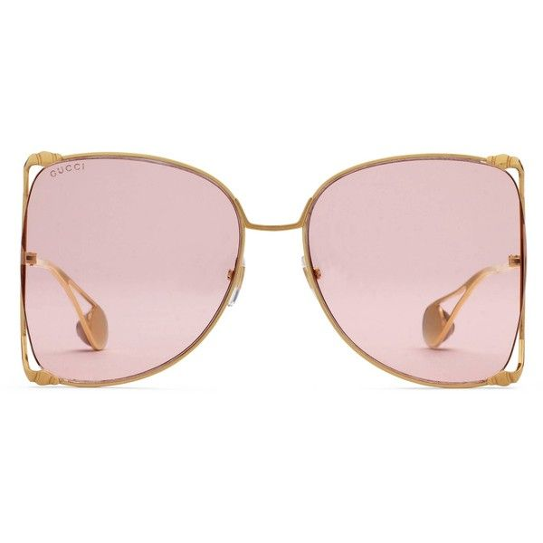 ce0eb9dc08 Gucci Oversize Round-Frame Metal Sunglasses ( 520) ❤ liked on Polyvore  featuring accessories