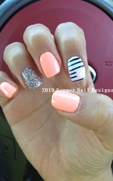 33 Cute Summer Nail Design Ideas 2019 Nailideas 2019nails Cute Summer Nail Designs Cute Gel Nails Nail Designs Summer