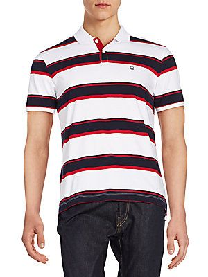 Victorinox Swiss Army Hydro Striped Polo Shirt - Classic White - Size
