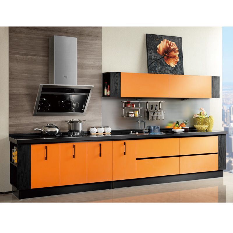 Orange Laminate Kitchen Cabinet Model: OP12-L053 (With ...