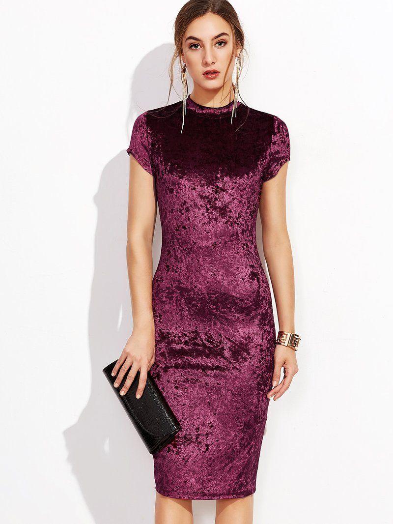 ff3cd872f71e Mock Neck Crushed Velvet Pencil Dress   Corduroy   Velvet   Dresses ...