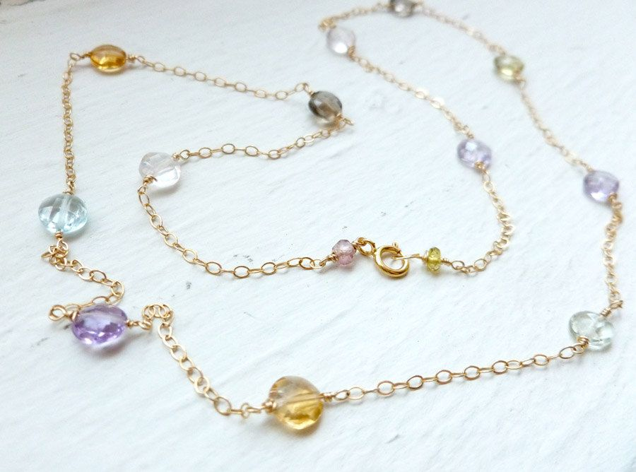 Amethyst, Blue Topaz, Citrine Coin wirewrapped necklace. $38.50, via Etsy.