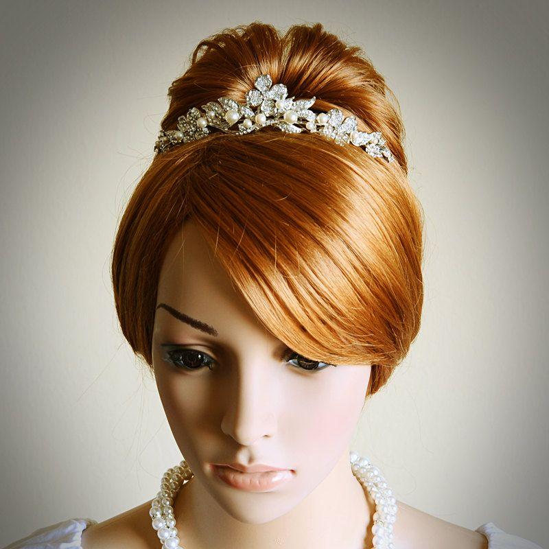 CORINNE, Victorian Bridal Tiara, Vintage Wedding Tiara, SWAROVSKI Rhinestone and Pearl Bridal Tiara / Crown, Ivory Wedding Hair Accessories. $108.00, via Etsy.