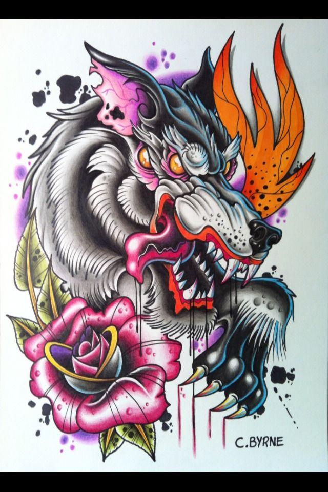 Neotraditional Wolf Tattoo Y Tưởng Hinh Xăm Hinh Xăm Hinh Xăm Mau