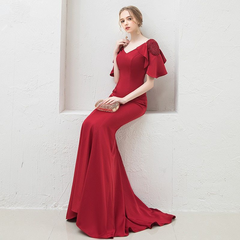 479ec1e8c48 Elegant Mermaid Evening Dress Long 2019 Wine Red Satin with Beaded Prom  Party Dresses Evening Gowns
