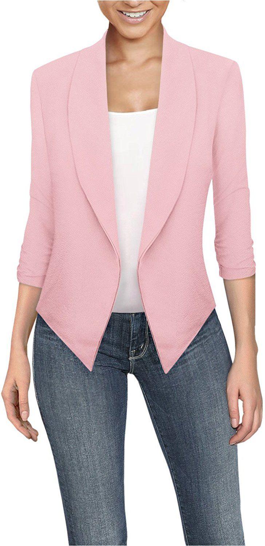 Casual pink dress shirt  HyBrid u Company Womens Casual Work Office Open Front Blazer JKX