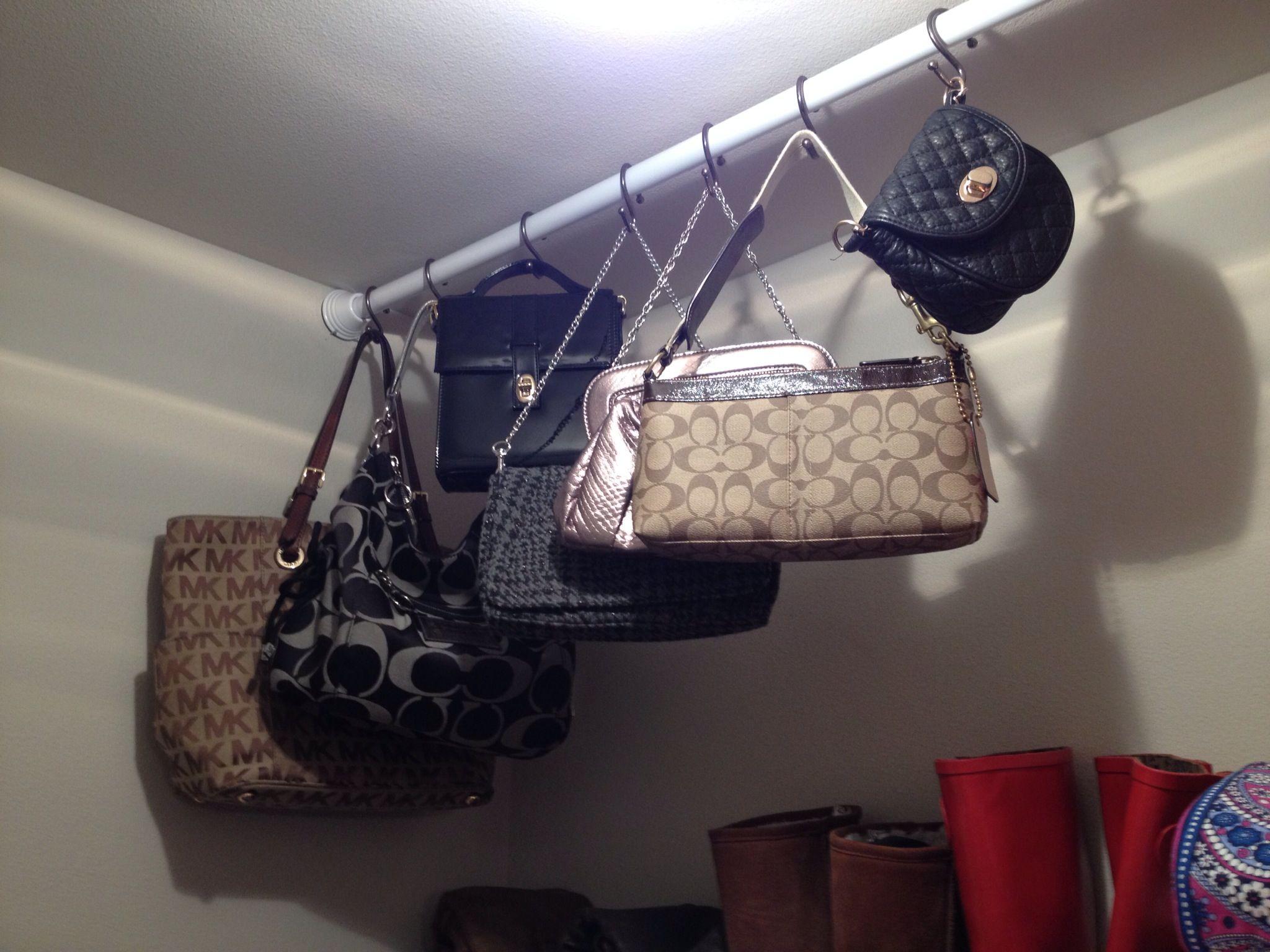 Purse Storage Using Shower Curtain Rod And S Hooks So Functional Purse Storage Purse Organization Handbag Storage
