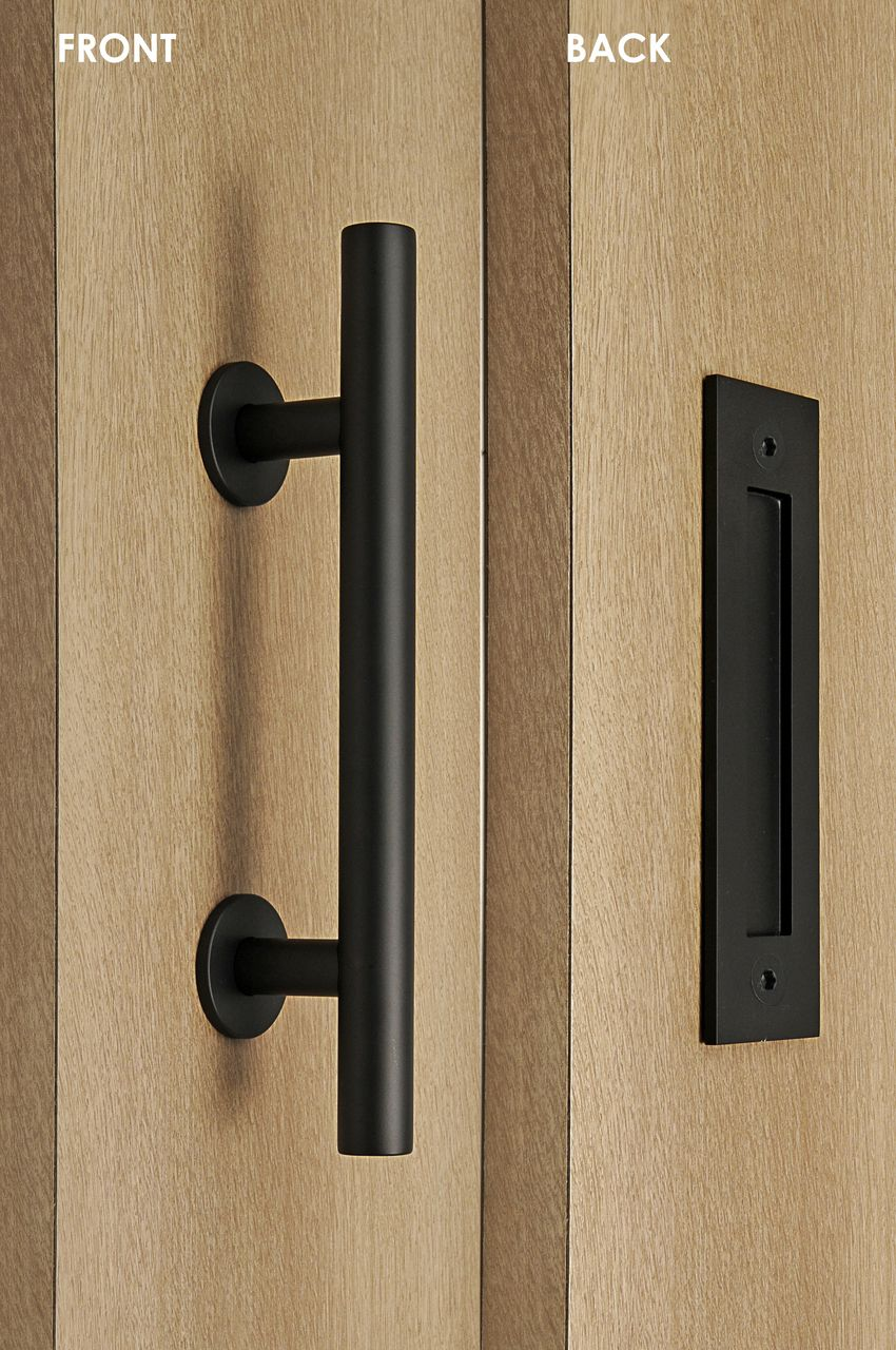 Barn Door Pull And Flush Tubular Door Handle Set Black Powder