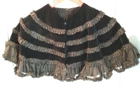 Victorian Edwardian Black Silk & Velvet Cape Capelet by MyGrayCats