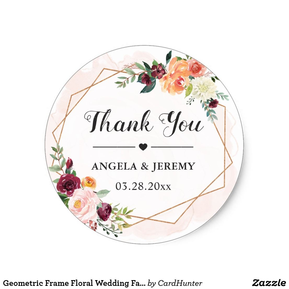 Geometric Frame Floral Wedding Favor Thank You Classic Round Sticker ...