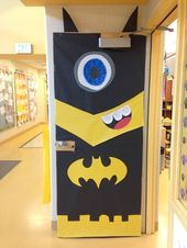 A door decoration I made for our first grade superhero writing celebration. A mi - Batman Decoration - Ideas of Batman Decoration #batman #decor #batmandecoration -   A door decoration I made for our first grade superhero writing celebration. A minion in a batman suit! #halloweenclassroomdoor