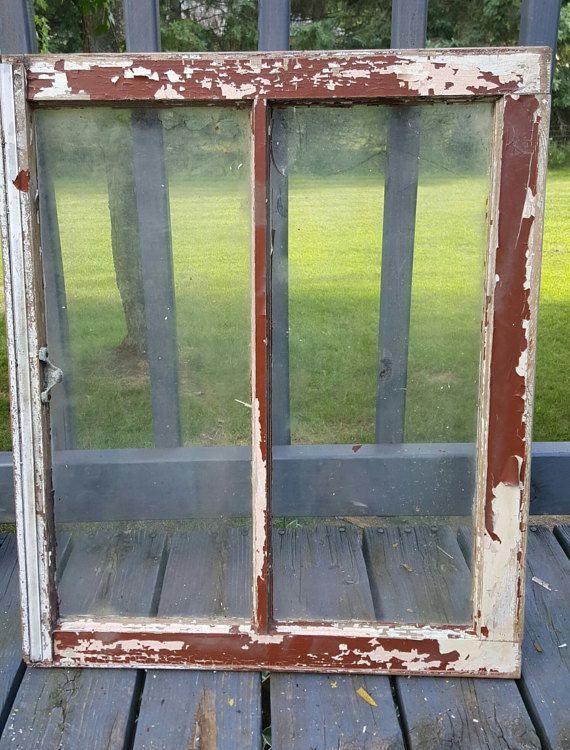 Old Wood Window Frame Two 2 Pane Farmhouse Home Decor Wood Window Frame Wood Windows Window Frame