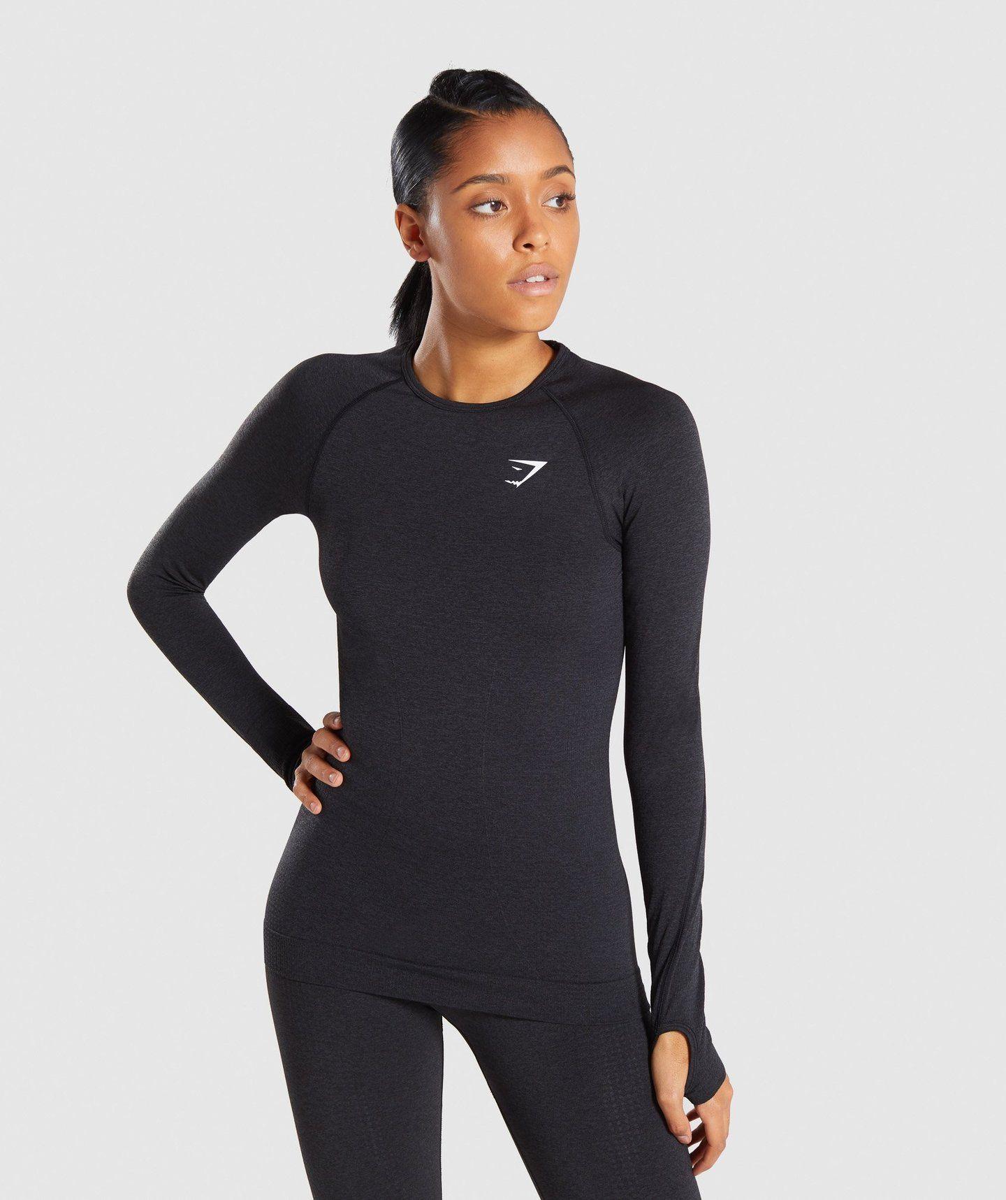 b0caddd6a Full Length Black Marl Vital Seamless Long Sleeve T-Shirt From Front 4